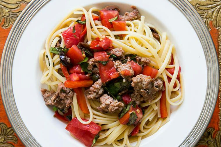 Pasta with Sausages, Tomatoes, and Peppers