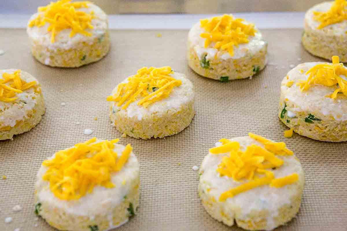 top cheddar biscuits with cream and cheese