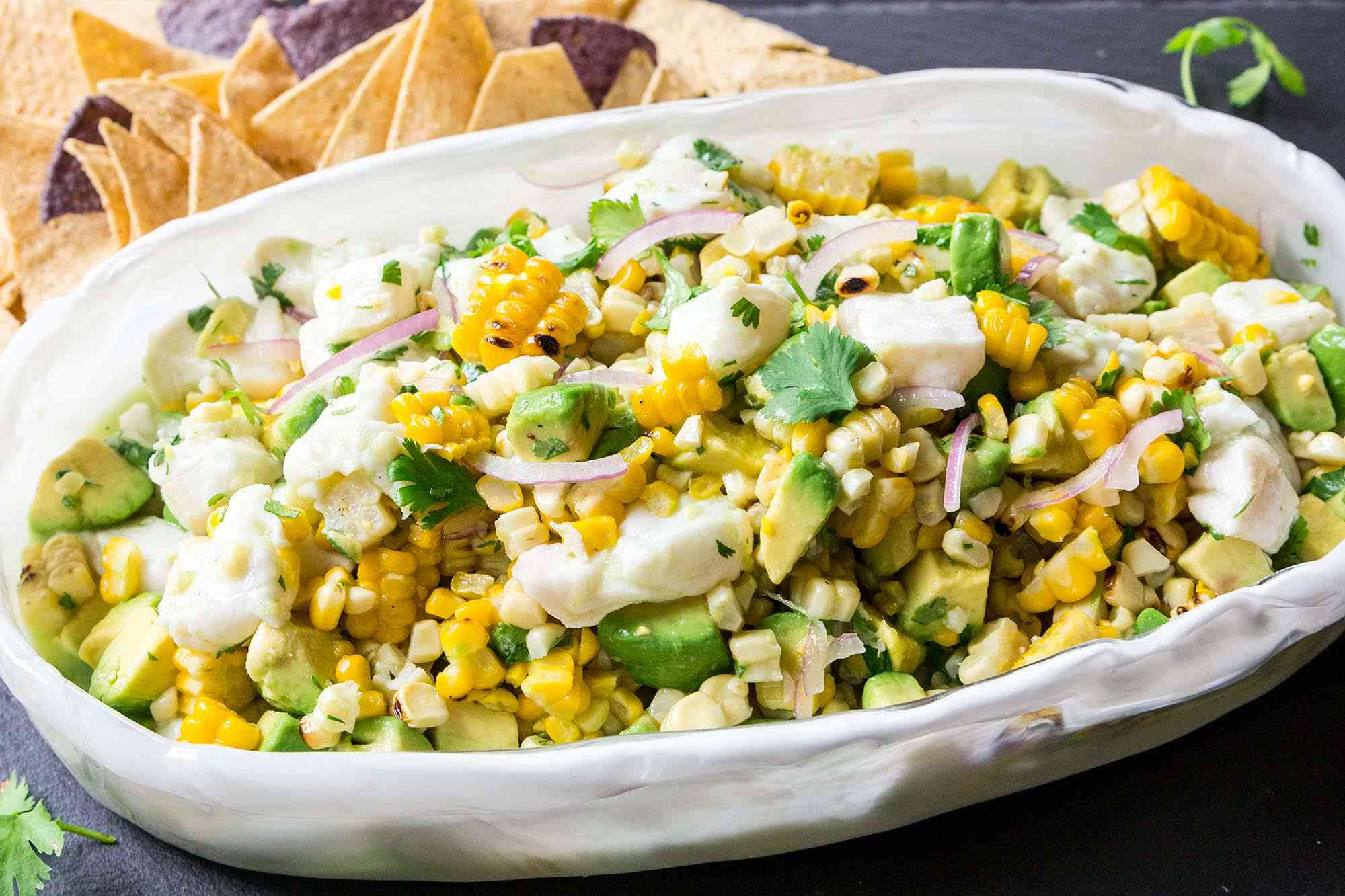 Ceviche with Avocado and Grilled Corn