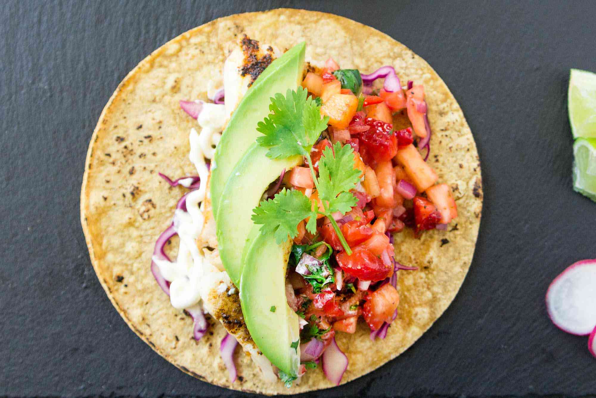Grilled Fish Tacos with Strawberry Pineapple Salsa