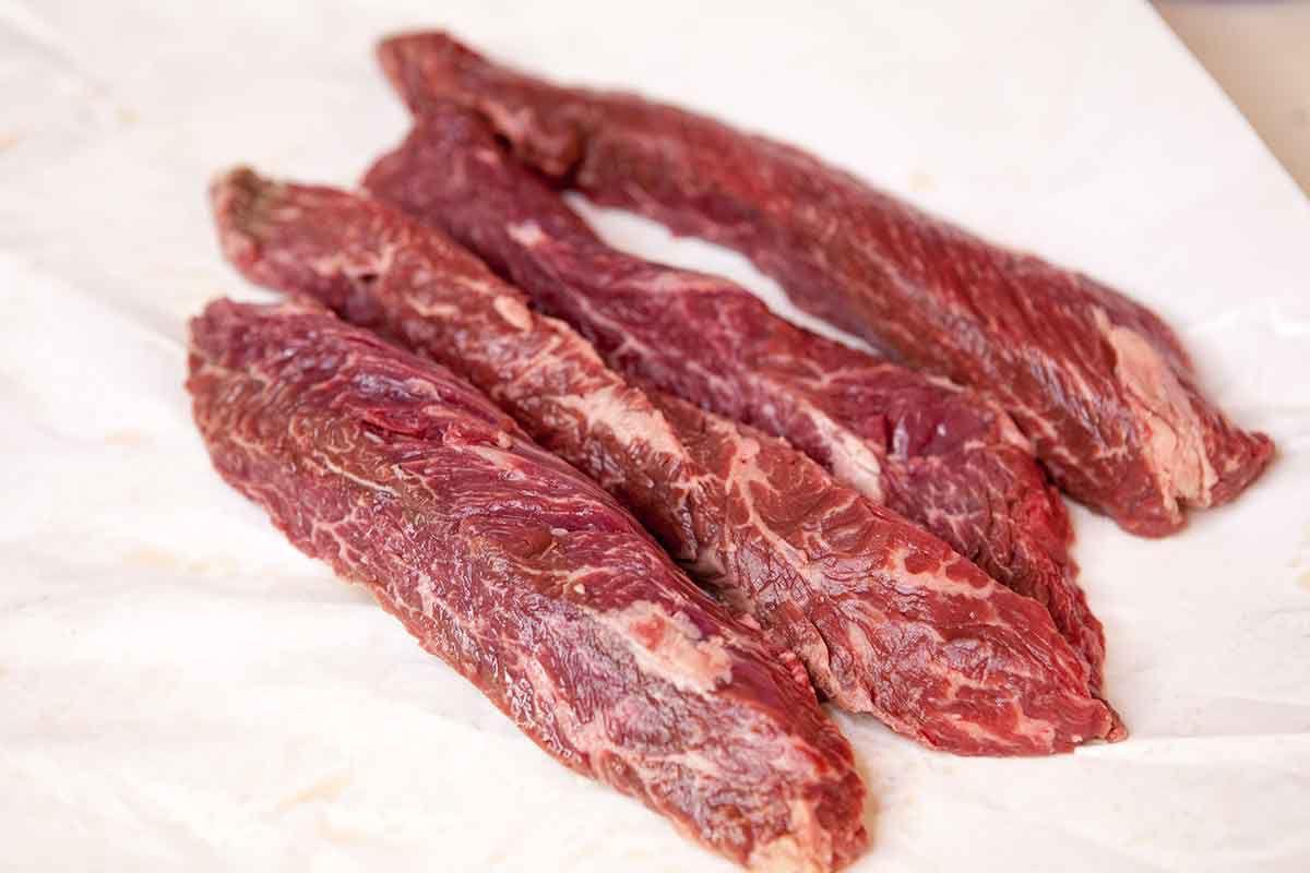 What is Hanger steak - hanger steaks lined up