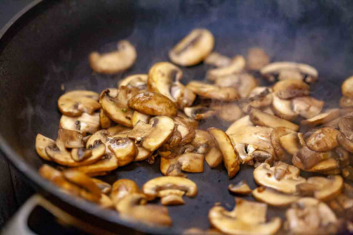 Sautéing Mushrooms in skillet for Chicken and Rice Casserole