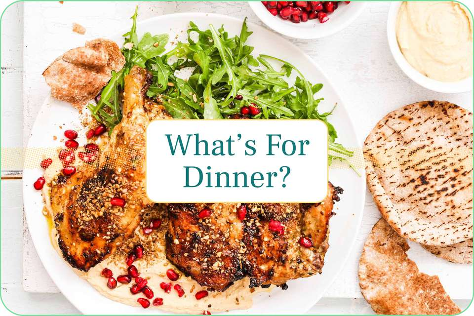 """""""What's For Dinner"""" with grilled chicken with dukkah pictured under the caption."""