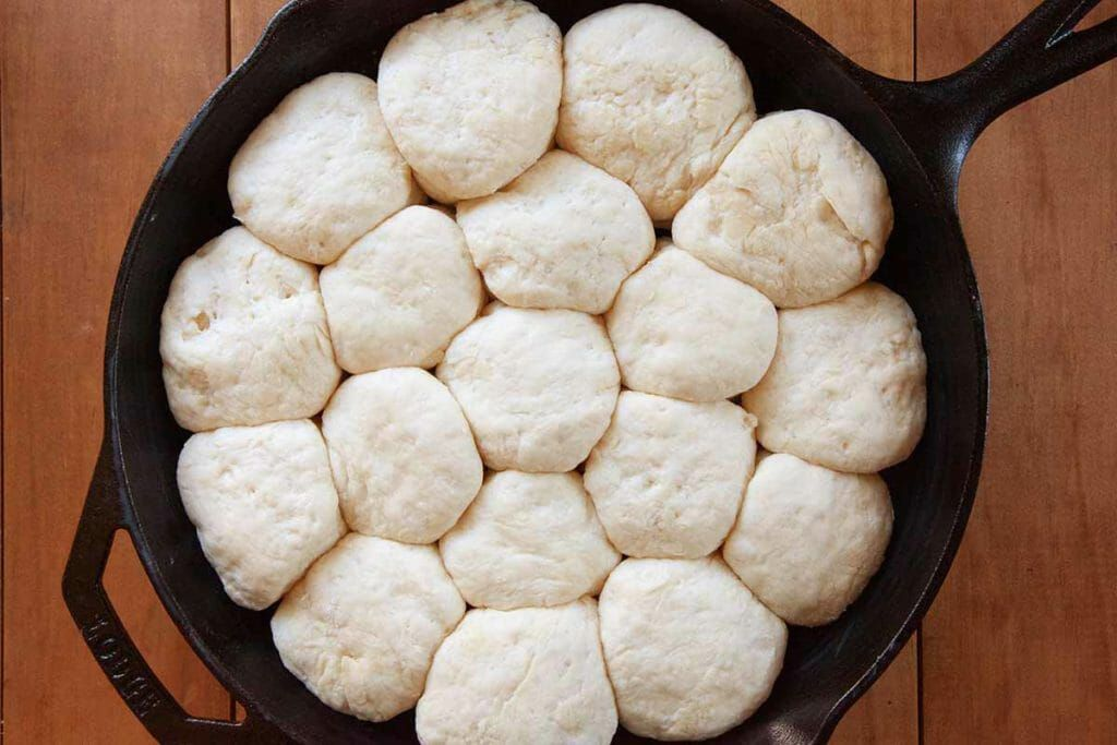 Angel biscuits before baking in a skillet
