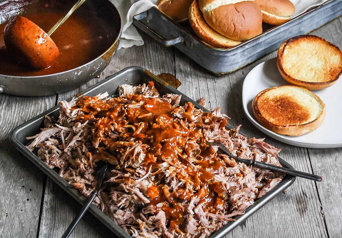 Pulled Pork Recipe with Cider add the sauce to the pork