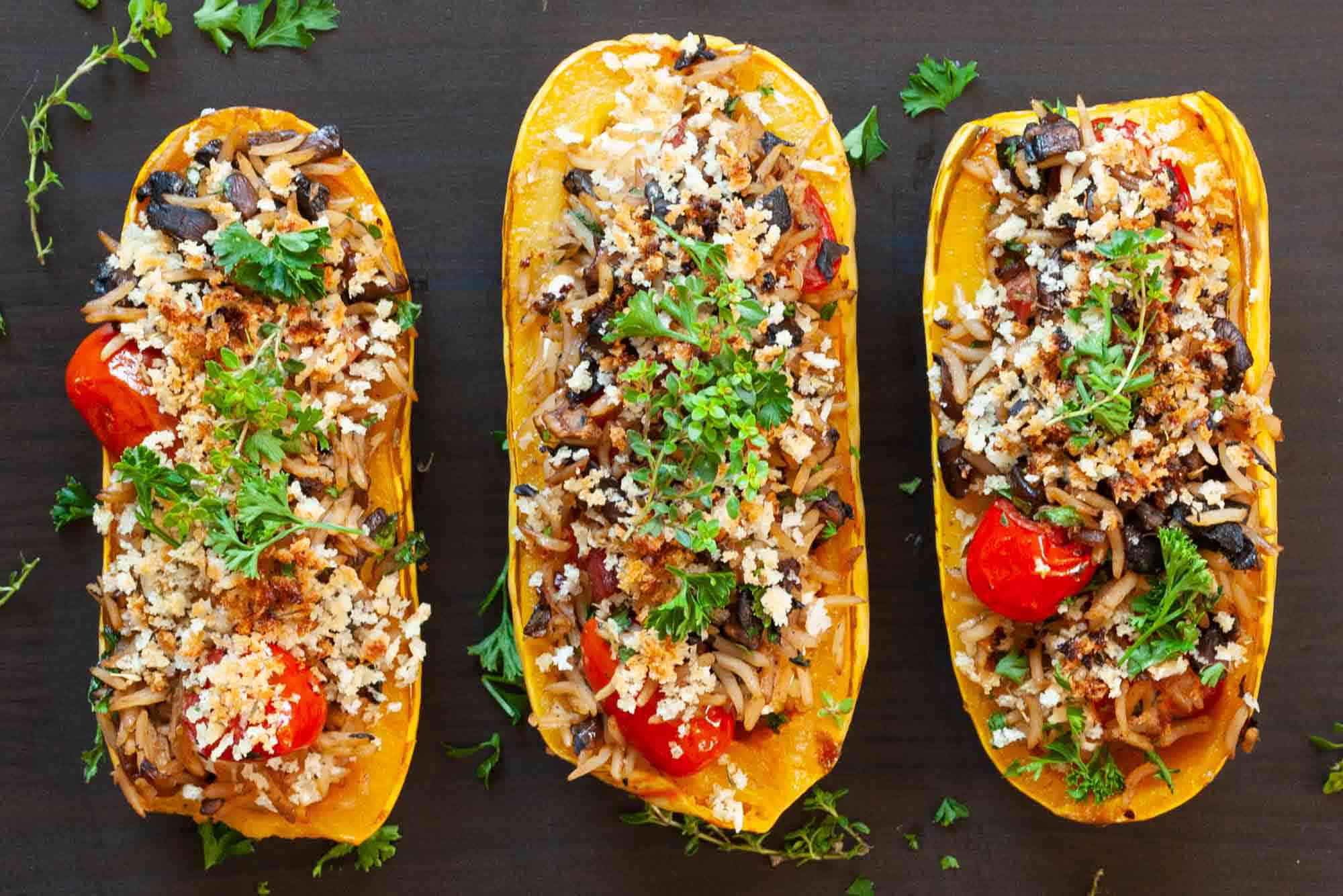 Delicata Squash Stuffed with Rice broiled squashes