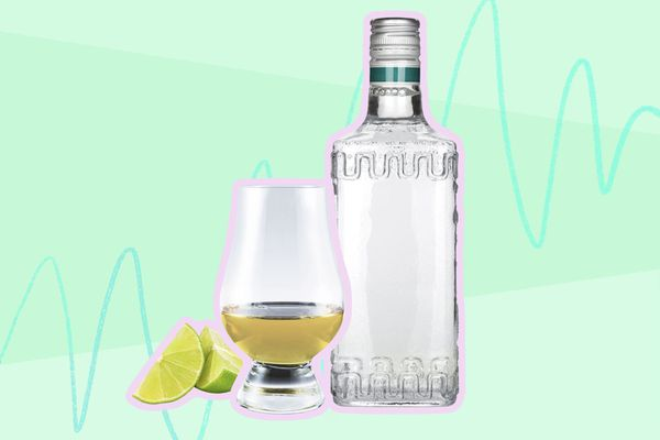Photo composite of a bottle and aged tequila in a glass with lime wedges.