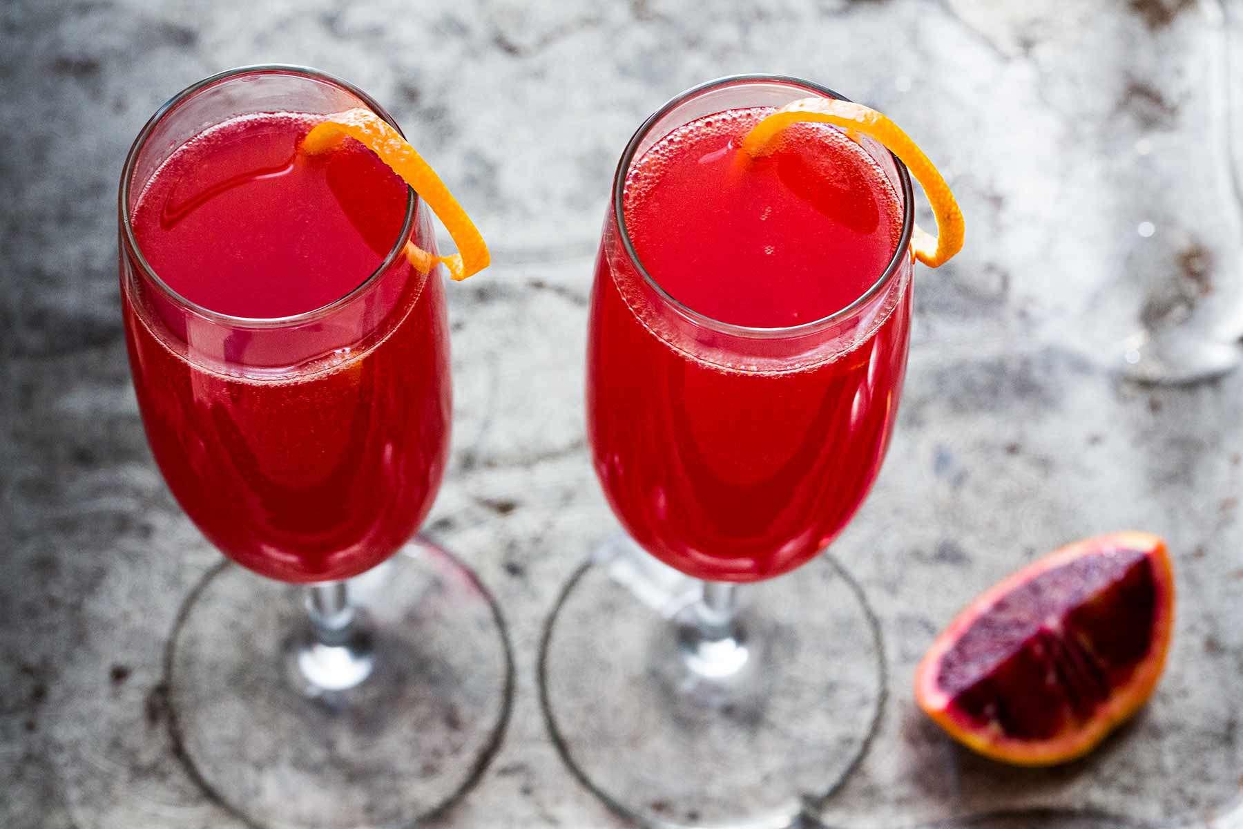 Blood Orange French 75 Cocktail