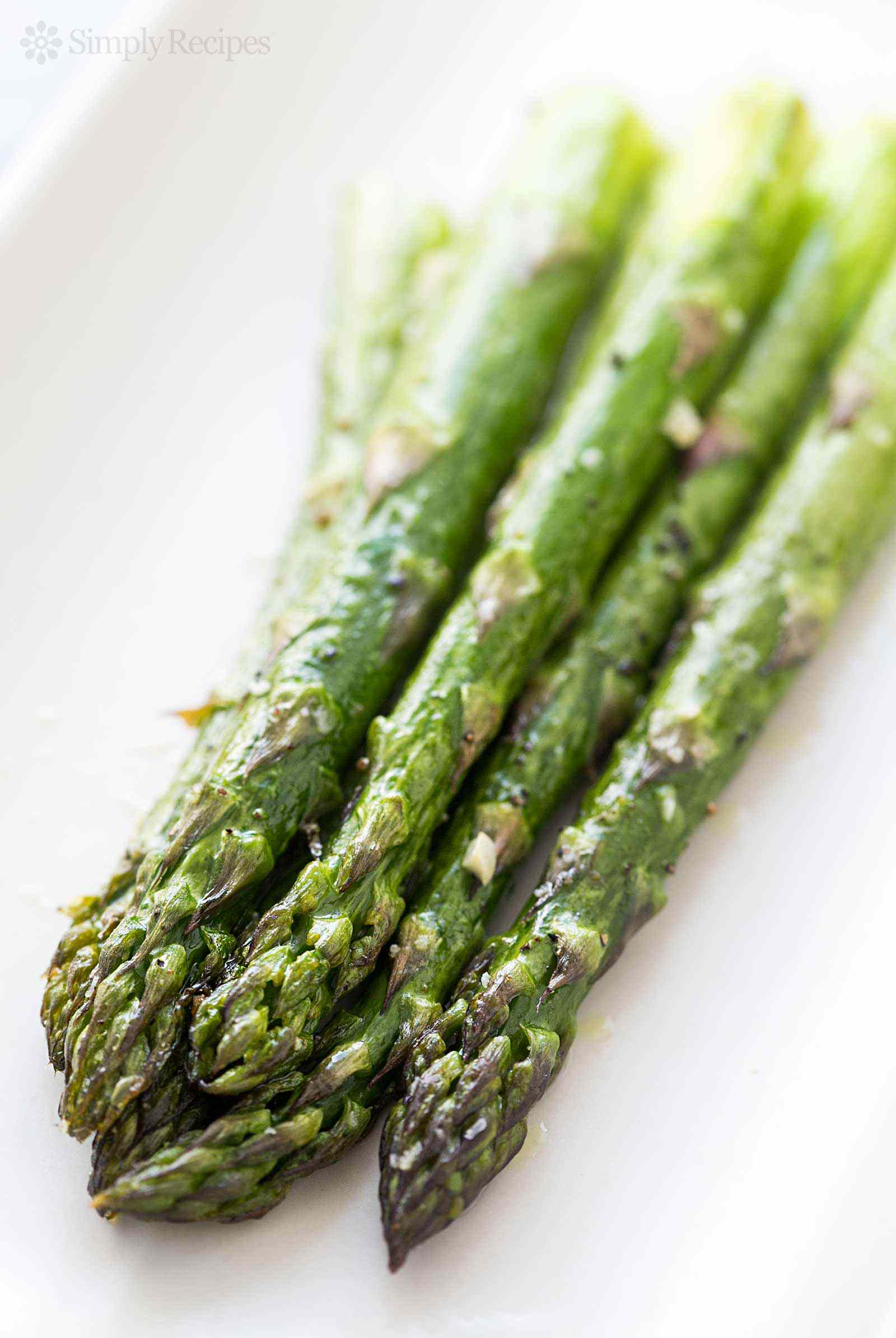 Spears of Roasted Asparagus on Platter