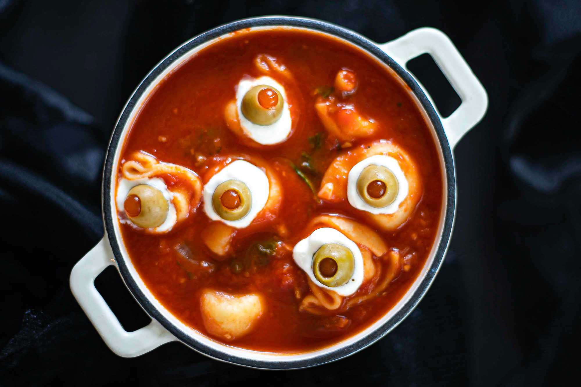 Eyeballs and brains tortellini soup