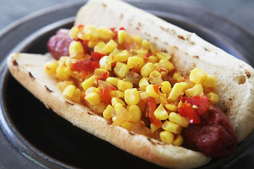 Corn relish on hot dog
