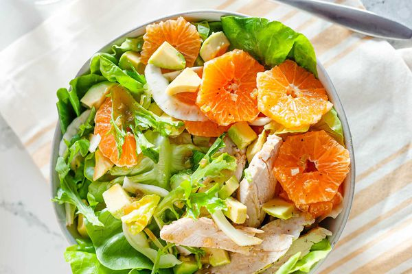 Chopped chicken salad with oranges and miso dressing