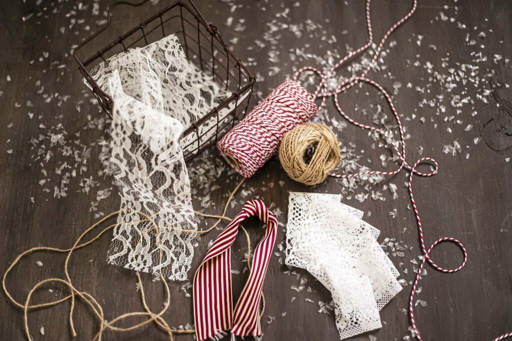 String and ribbon for packaging food gifts for the holidays