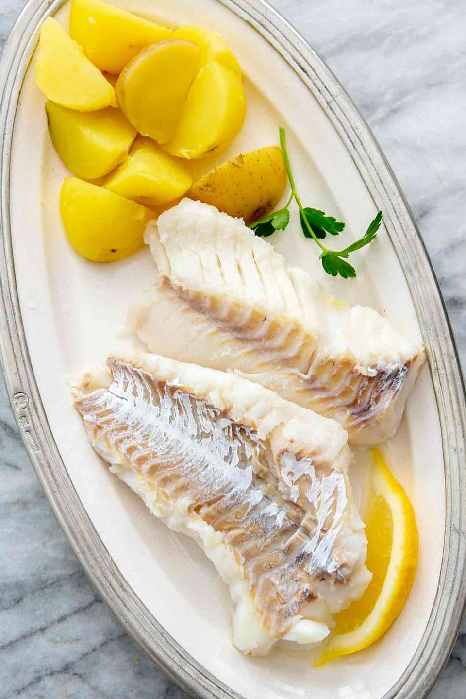 Cod Poached in Court Bouillon