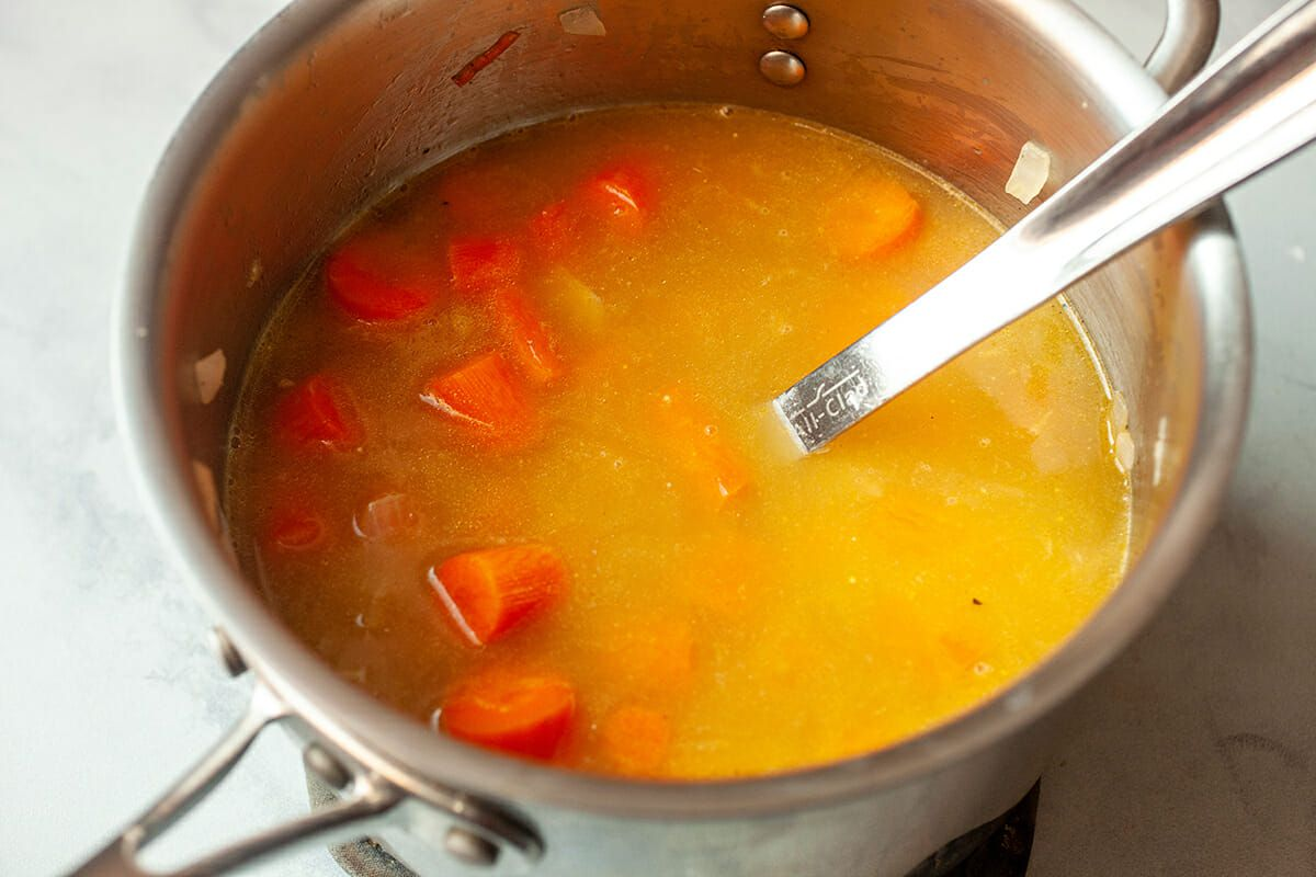 Carrot Puree Soup add the stock