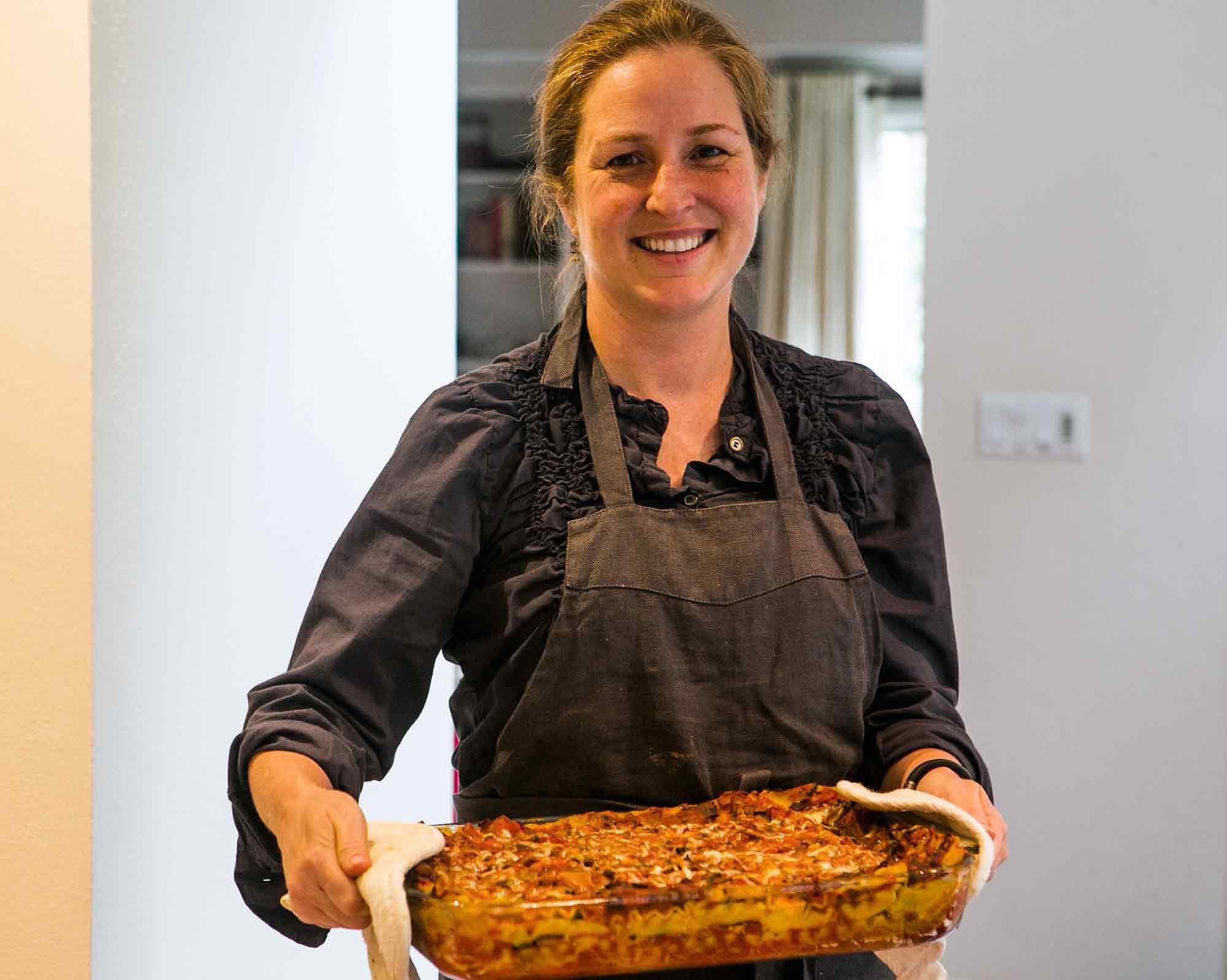 Elise Bauer with Vegetarian Spinach Mushroom Lasagna