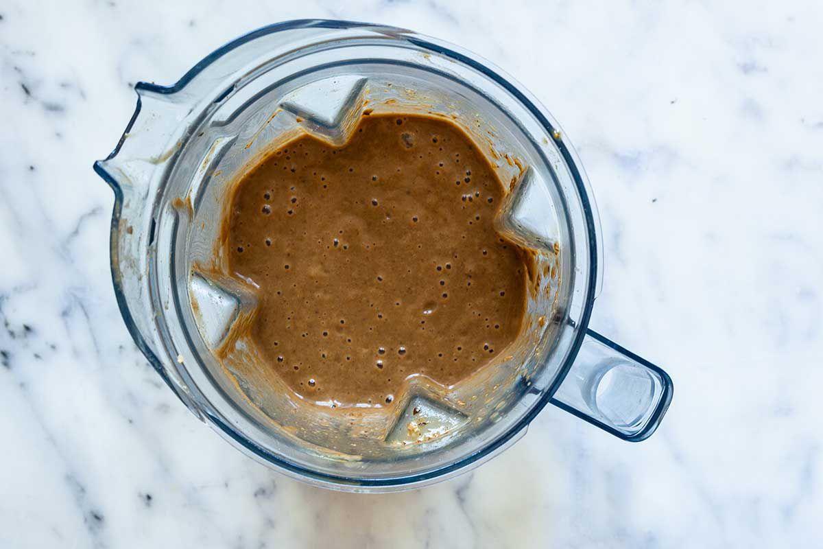 Vegan Mushroom Gravy blended in the base of a food processor