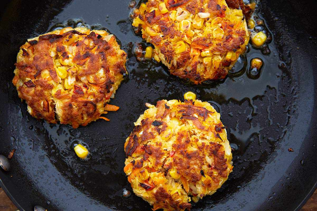 Canned Tuna Fish Burgers cook on the stovetop