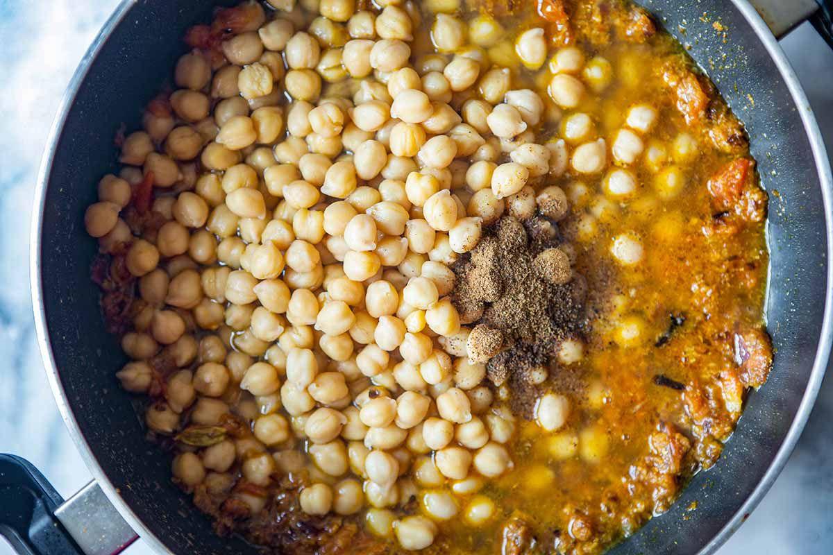 Easy Chana Masala Recipe - chickpeas, in spicy liquid