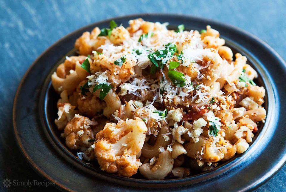 Pasta Cauliflower Tomato Parmesan