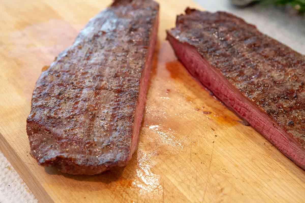 grilled flank steak cut in half