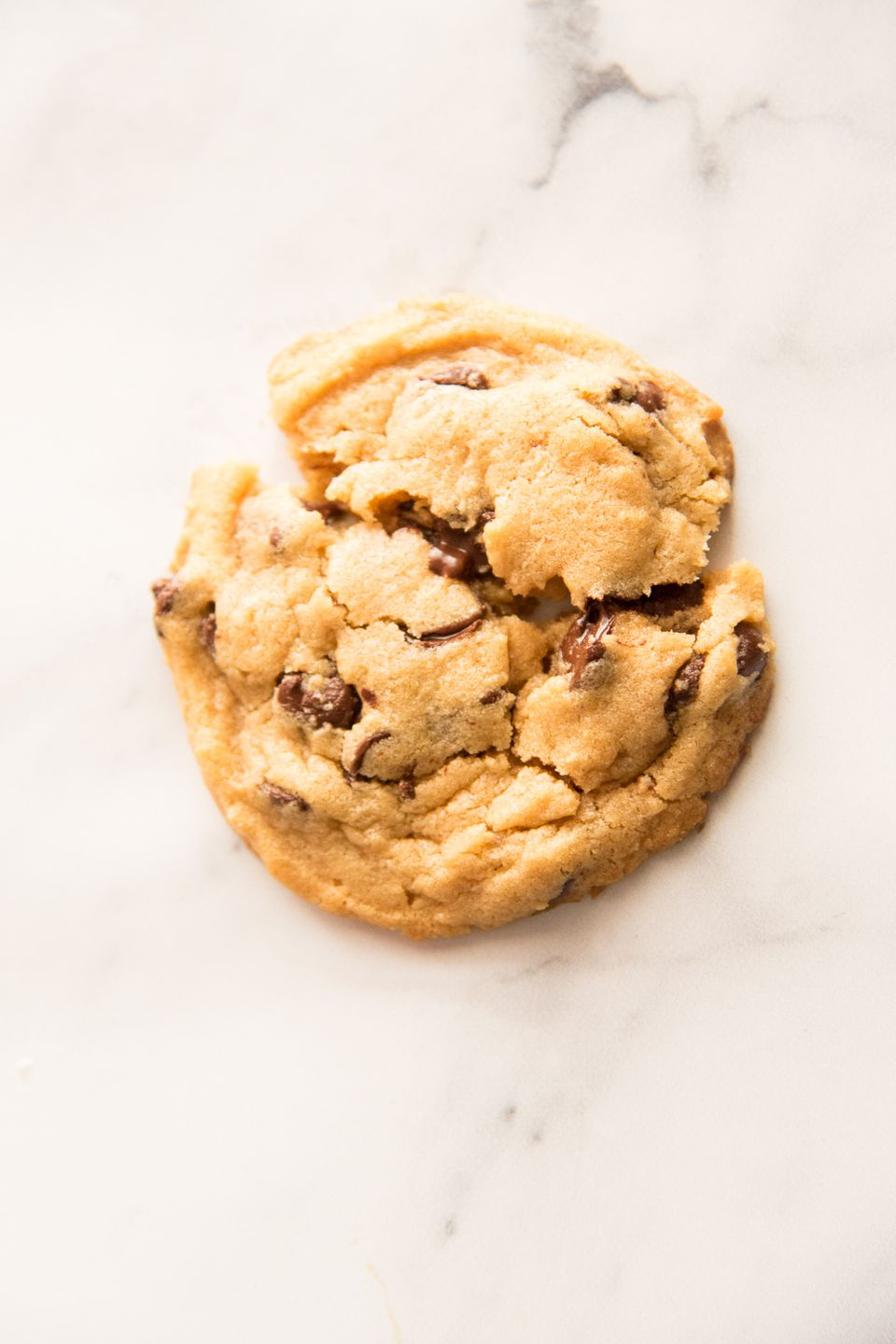 Overhead view of a single Homemade Peanut Butter Chocolate Chip Cookie.