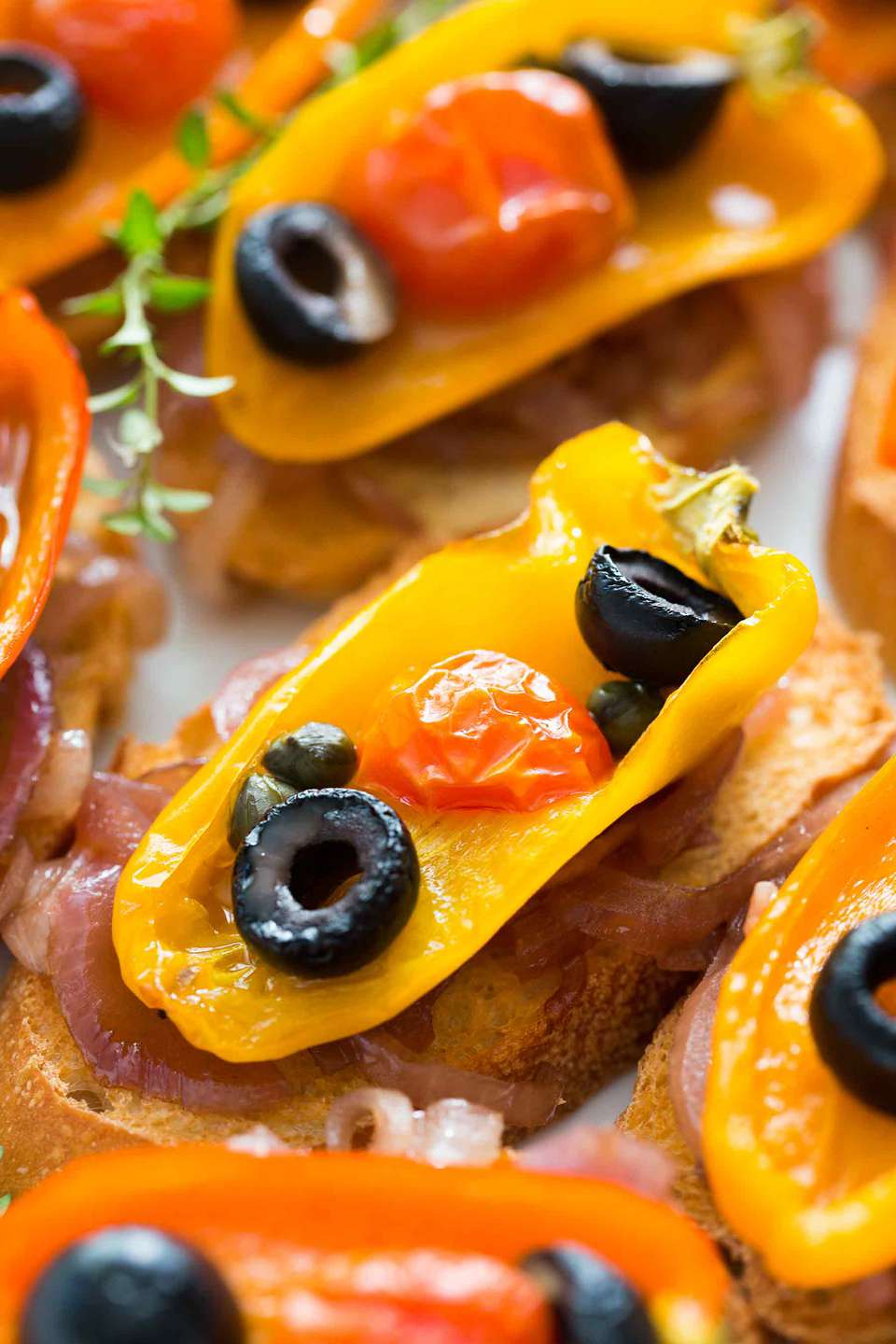 Roasted Pepper Crostini with Olives