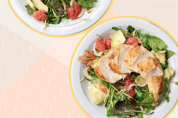 Photo composite of plated salads topped with grilled chicken