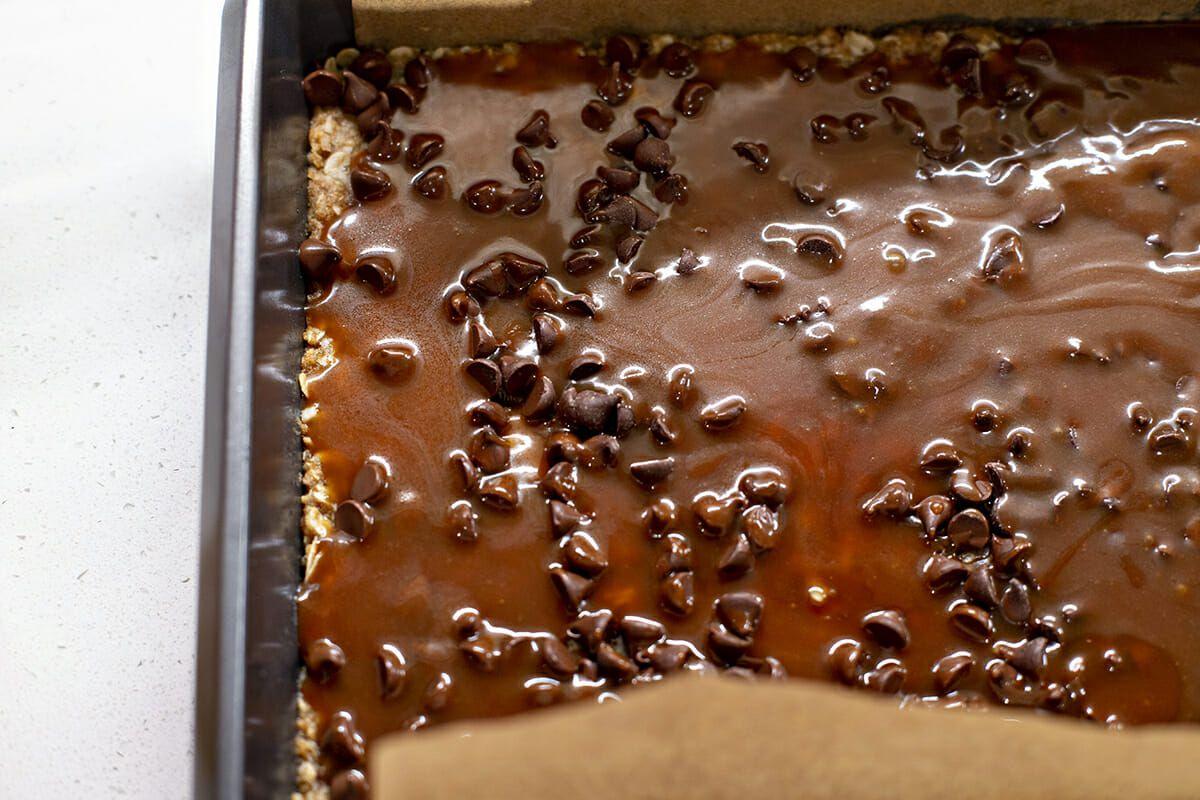 Chocolate Carmelita Bars - chocolate in baking dish