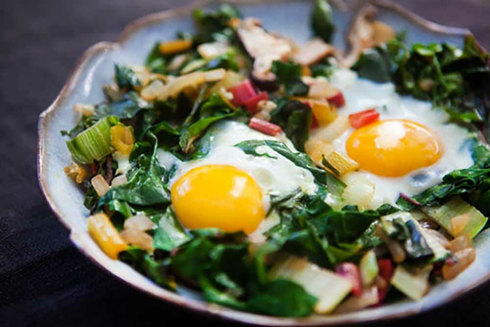 Eggs with Swiss Chard