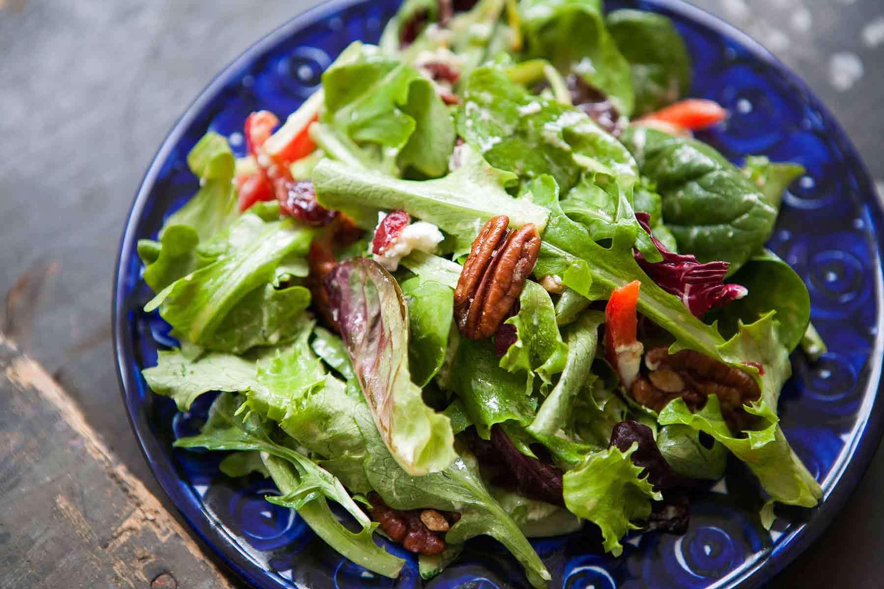 Mixed Green Salad with Pecans, Goat Cheese, Honey Mustard Vinaigrette