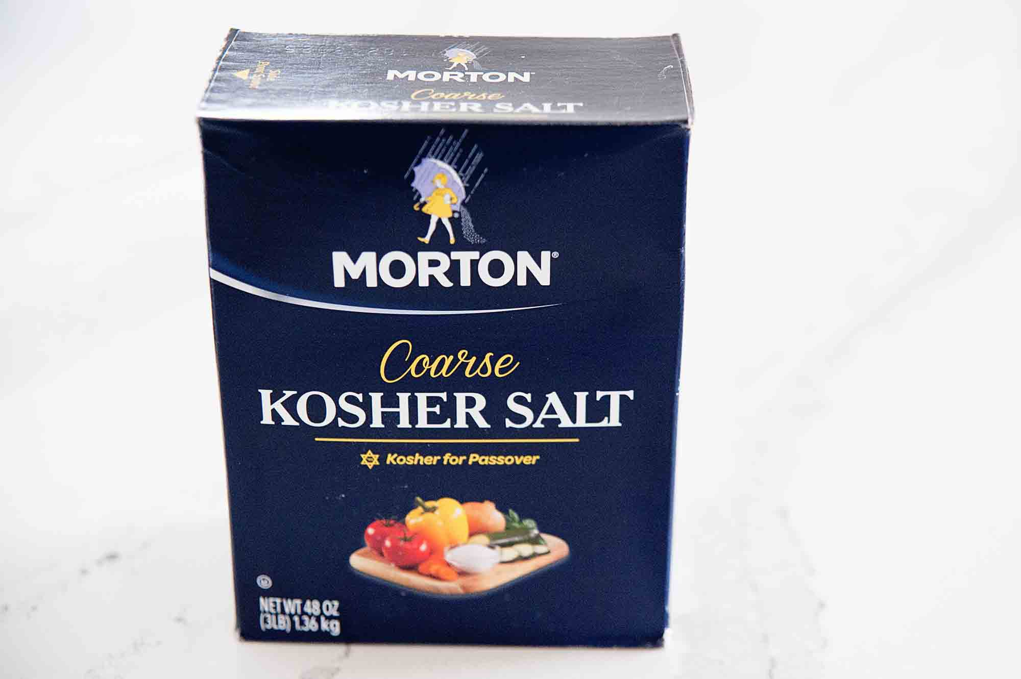 Box of Morton Kosher Salt