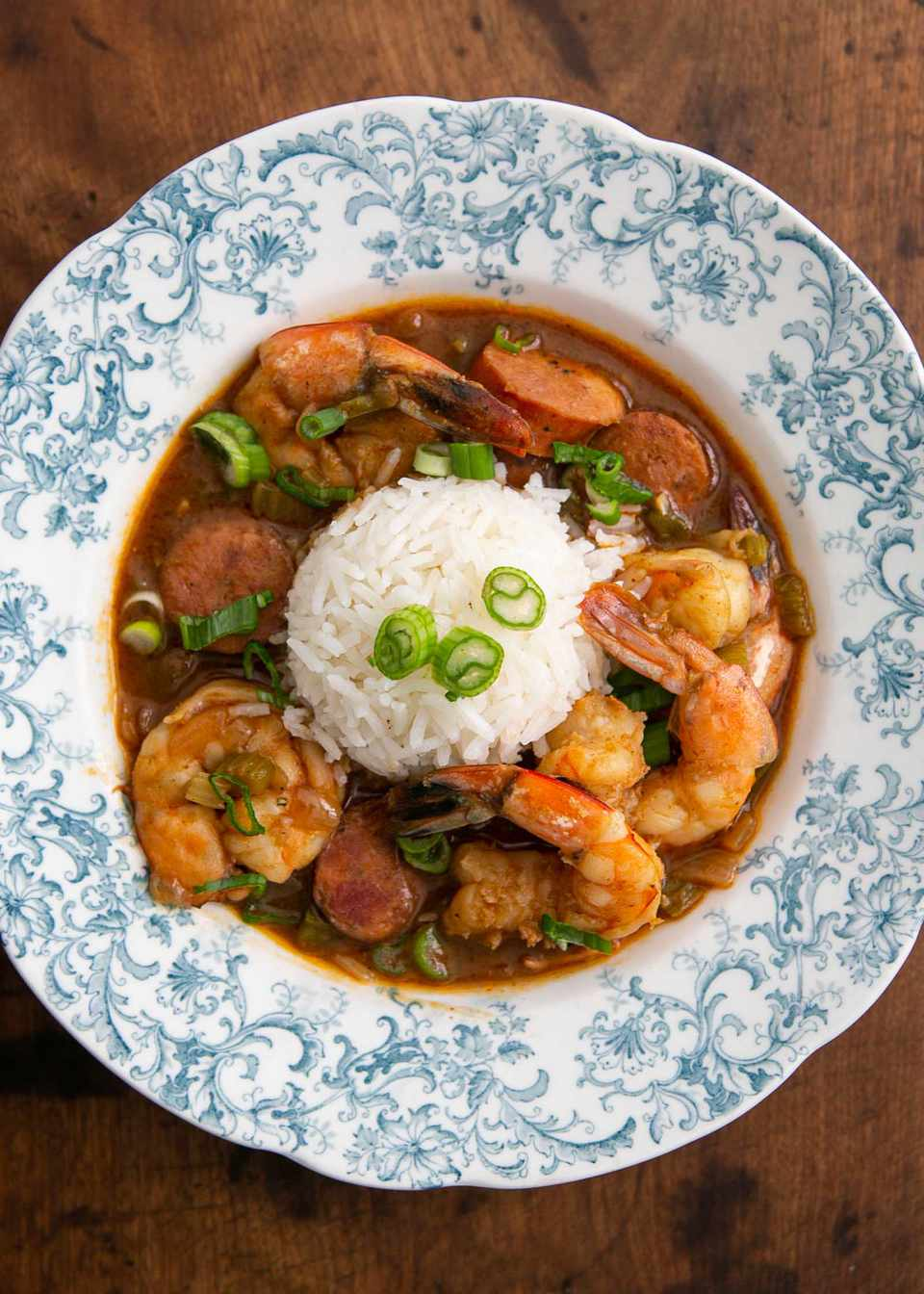 Shrimp gumbo with andouille sausage in a shallow bowl