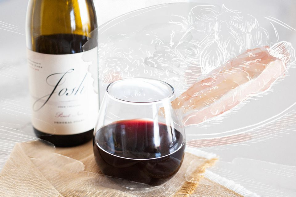 Pinot Noir and a drawing of a plated salmon.