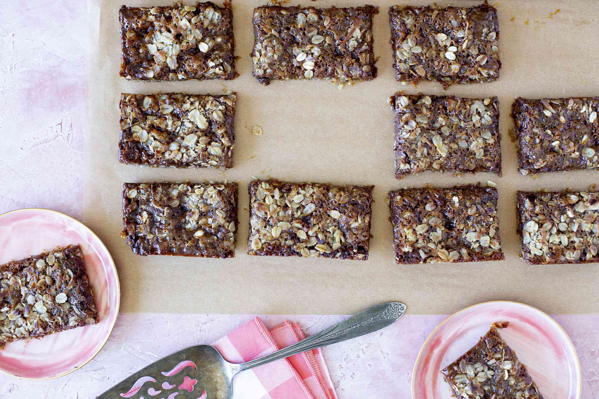 How to Make Carmelita Bars - bars on parchment paper