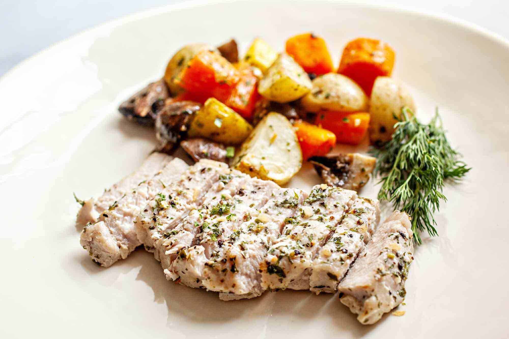 Pork Chop Sheet Pan Dinner Recipe serve the pork chops