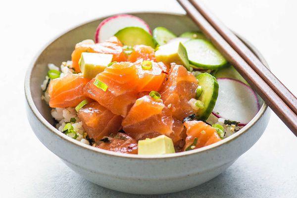 Salmon Poke Bowl with avocado