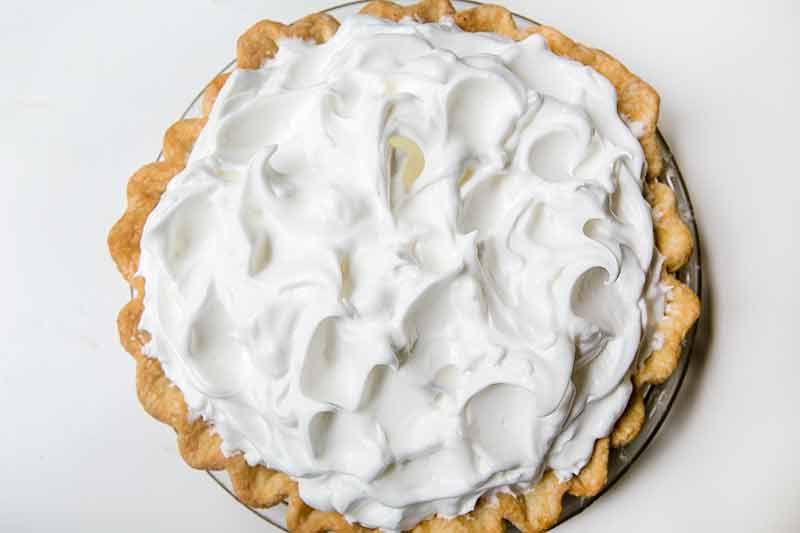 Perfectly peaked meringue on lemon meringue pie