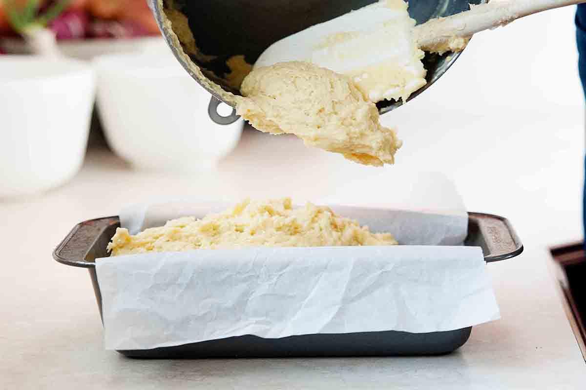 Lemon Loaf Cake - transfer to pan