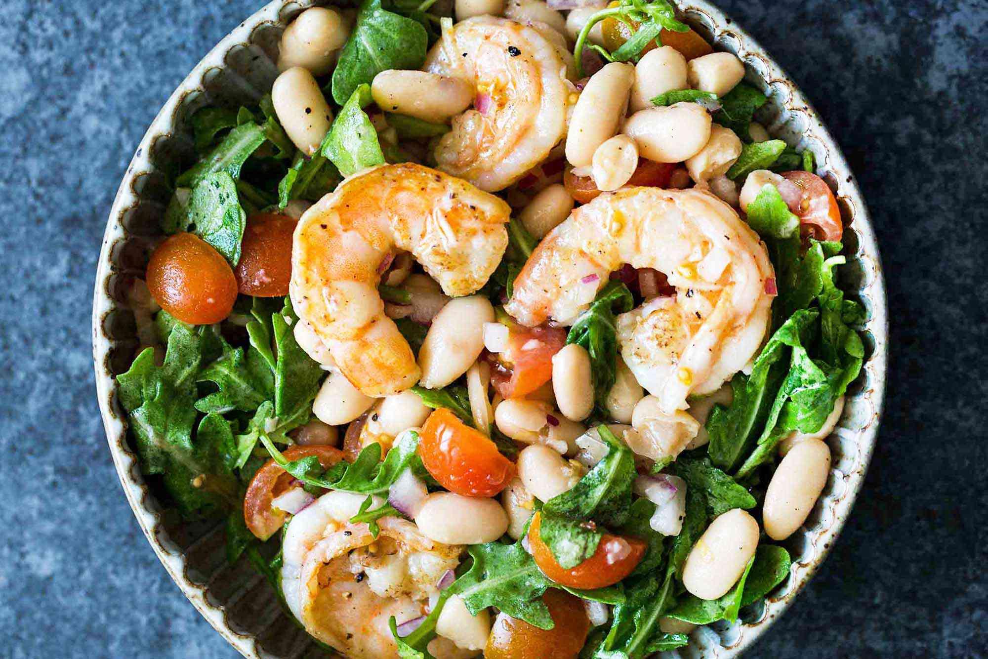 Shrimp, Arugula, White Bean, and Cherry Tomato Salad