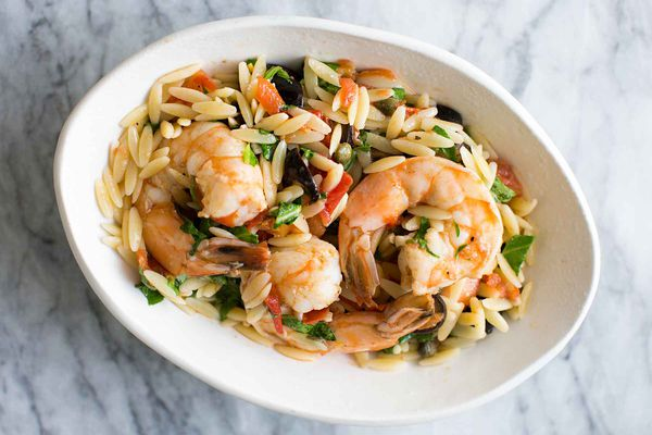 Shrimp with Olives, Tomatoes, Orzo