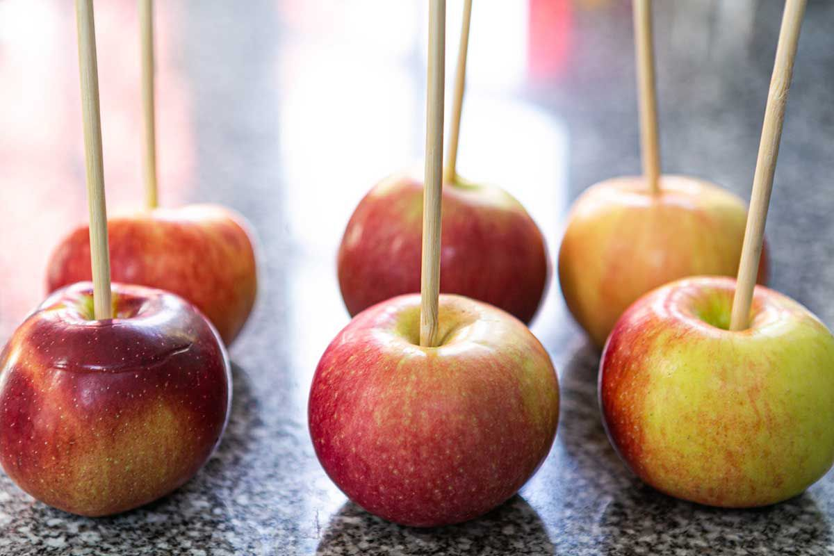 Caramel Apples apples on a stick