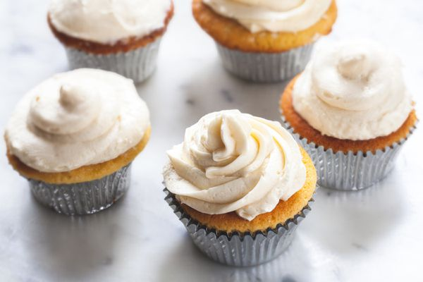 Flour Buttercream piped on cupcakes.