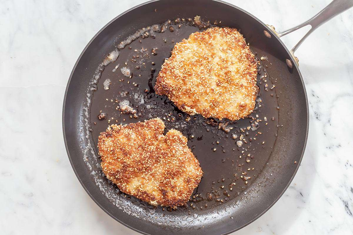 Sesame-Crusted Pork Cutlets with Crispy Shallots
