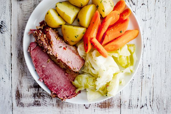 Insta Pot Corned Beef - corned beef, cabbage, potato, carrots on plate