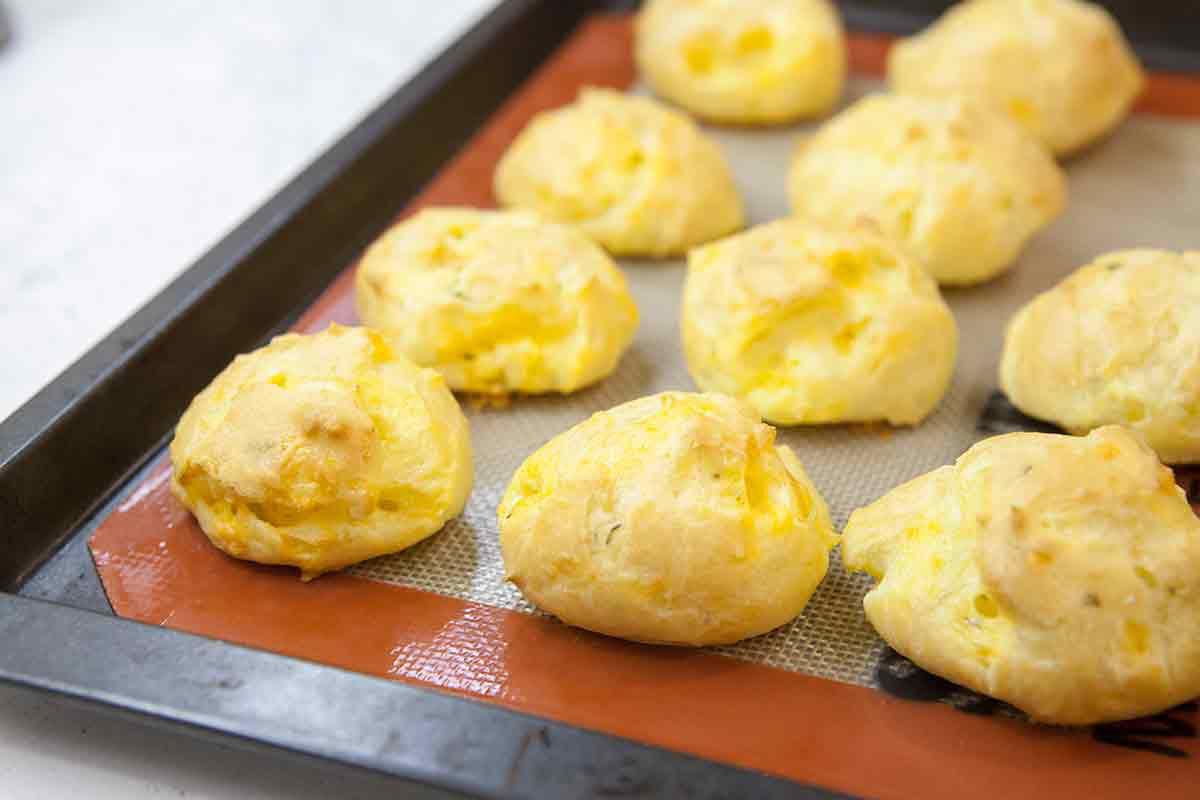 bake cheddar cheese puffs until golden