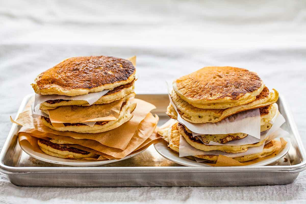 Buttermilk Pancakes from Scratch serve the pancakes