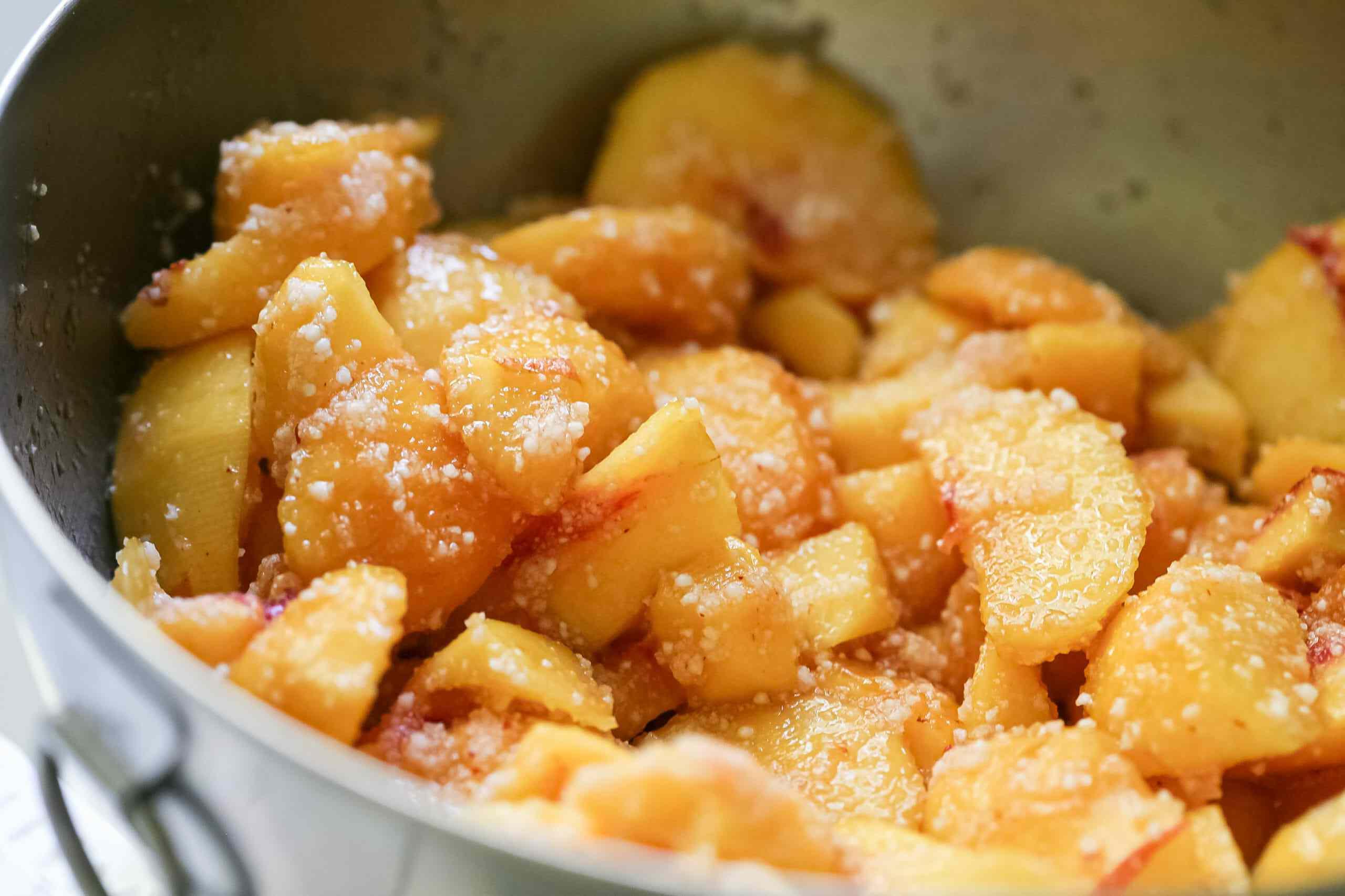 Macerated peaches for peach cobbler