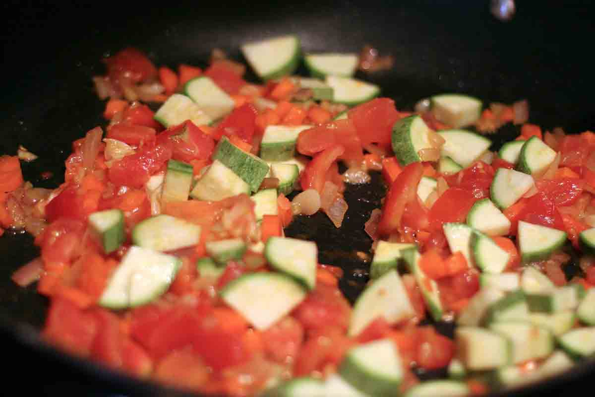 add tomatoes and zucchini