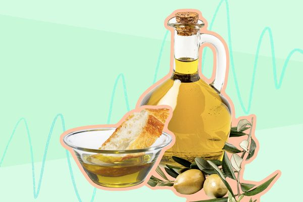 Photo composite of olive oil in a dish with a piece of bread and a jug of olive oil and an olive branch.